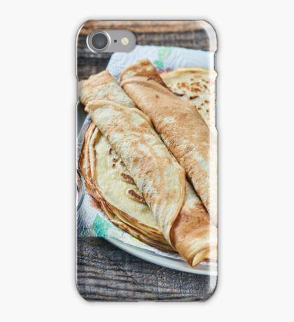 Pancakes filled with dark cherry jam iPhone Case/Skin