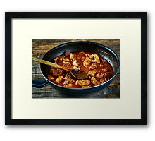 Chicken meat and chorizo cooking in the frying pan Framed Print