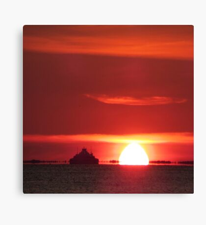 Ship in sunset Canvas Print