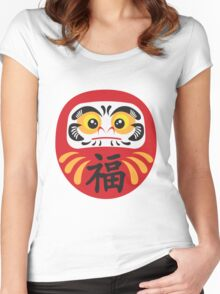 Japanese Daruma Doll Illustration Women's Fitted Scoop T-Shirt