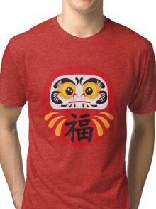 Japanese Daruma Doll Illustration Tri-blend T-Shirt