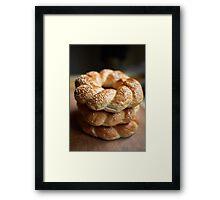 Stack of bagels Framed Print