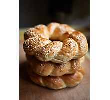 Stack of bagels Photographic Print