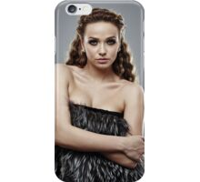 Fashion model on gray background, closeup iPhone Case/Skin