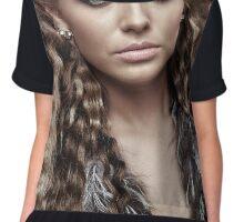 Fashion model on gray background, closeup Chiffon Top