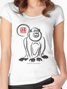 2016 Chinese New Year of the Monkey Ink Brush Illustration Women's Fitted Scoop T-Shirt