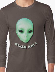 Alien Am I Green Funny Alien Face With Black Eyes Long Sleeve T-Shirt