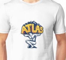Atlas Lifting Mountain Kneeling Woodcut Unisex T-Shirt