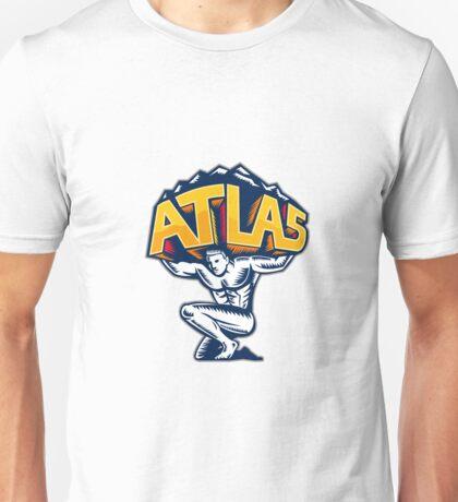 Atlas Lifting Mountain Kneeling Woodcut Unisex T-Shirt