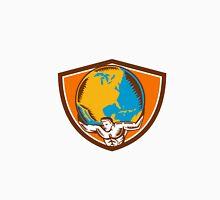 Atlas Carrying Globe Crest Woodcut Unisex T-Shirt