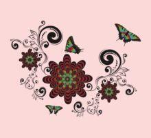 Vintage Floral with Butterflies Kids Tee