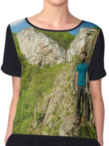 Teenager boy posing on the mountains Chiffon Top