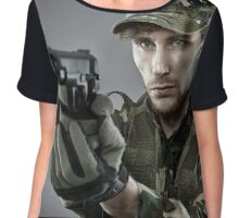 Military guy shooting Chiffon Top