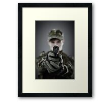 Military guy shooting Framed Print