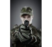 Military guy shooting Photographic Print