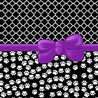 Ribbon, Bow, Dog Paws, Quatrefoil - White Black Purple by sitnica