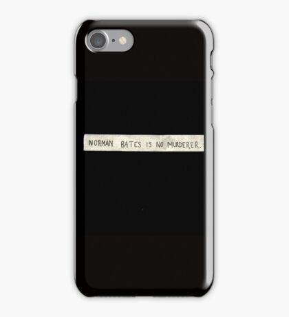 NORMAN BATES IS NO MURDERER (BLACK VERSION) iPhone Case/Skin