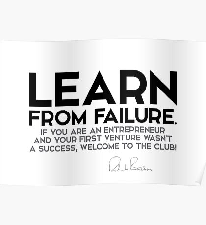learn from failure - richard branson Poster