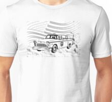 Checkered Taxi Cab And American Flag Unisex T-Shirt