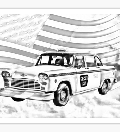 Checkered Taxi Cab And American Flag Sticker