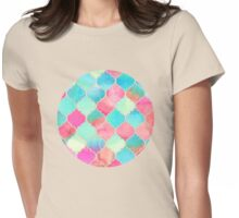 Watercolor Moroccan Patchwork in Magenta, Peach & Aqua Womens Fitted T-Shirt