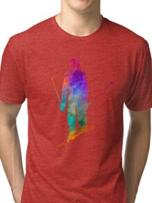 Woman skier skiing jumping 01 in watercolor Tri-blend T-Shirt
