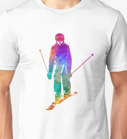 Woman skier skiing jumping 01 in watercolor Unisex T-Shirt