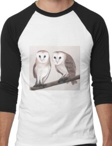 Cute Barn Owls Men's Baseball ¾ T-Shirt