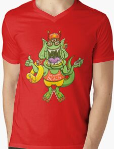 Cool monster rising its thumb to get a ride Mens V-Neck T-Shirt