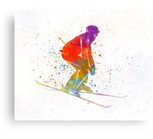Woman skier skiing jumping 02 in watercolor Canvas Print