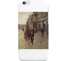 George Hendrik Breitner (Rotterdam  Amsterdam)  Rokin Westzijde, a horsedrawn cart on the Rokin, Amsterdam, people,visiting on horse,lover staying on wall,evening  iPhone Case/Skin