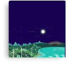 Rembulan : The Moon Over The Village Canvas Print