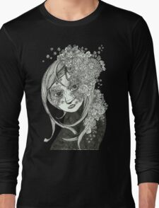 Flowerly Black and White Long Sleeve T-Shirt