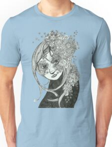 Flowerly Black and White Unisex T-Shirt