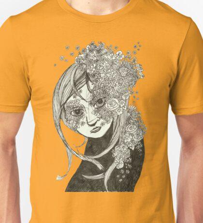 Flowerly Black and White Unisex T-Shirt