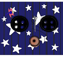 Buttoned Eyed Coraline with Starry Background Photographic Print