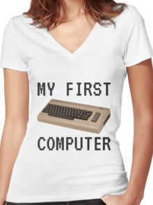 My First Computer - Commodore 64 Women's Fitted V-Neck T-Shirt
