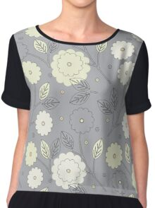 Elegant seamless pattern with yellow and ivory flowers and leaves on grey background Chiffon Top