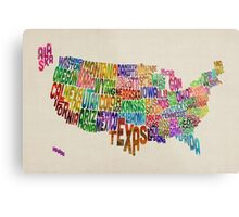 United States Typography Text Map Metal Print