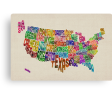 United States Typography Text Map Canvas Print