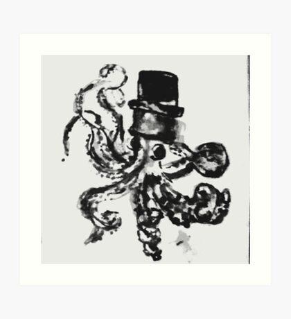 octopus in a top hat.  Art Print