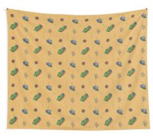 Happy Train pattern - yellow background Wall Tapestry