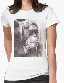 Hand drawn watercolor painting of an orangutan Womens Fitted T-Shirt