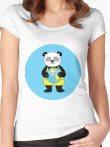 panda kept globe of the planet earth Women's Fitted Scoop T-Shirt