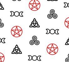 Wiccan Symbols on White Sticker