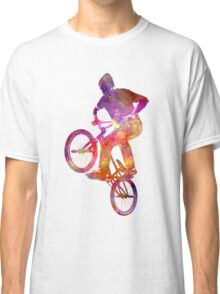 Man bmx acrobatic figure in watercolor Classic T-Shirt