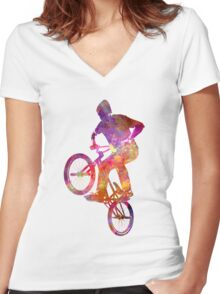 Man bmx acrobatic figure in watercolor Women's Fitted V-Neck T-Shirt