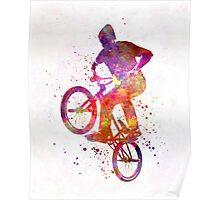 Man bmx acrobatic figure in watercolor Poster