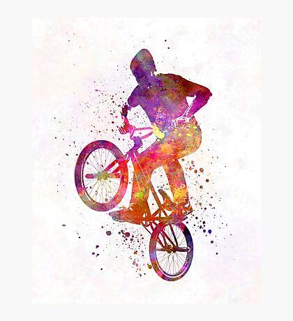 Man bmx acrobatic figure in watercolor Photographic Print
