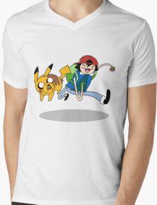 Pokemon Adventure Time Mens V-Neck T-Shirt